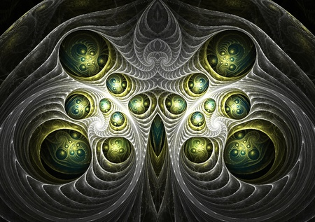 Beautiful abstract fractal in blue and green Stock Photo