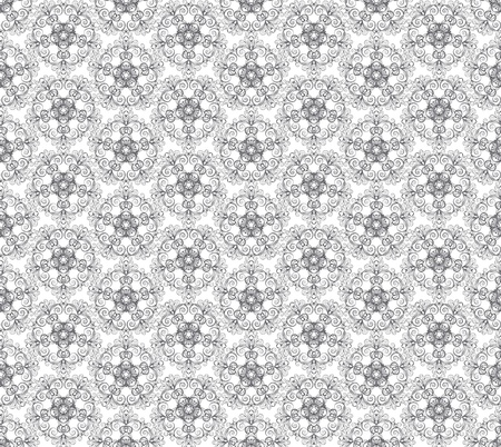 ornate grey seamless pattern on white background