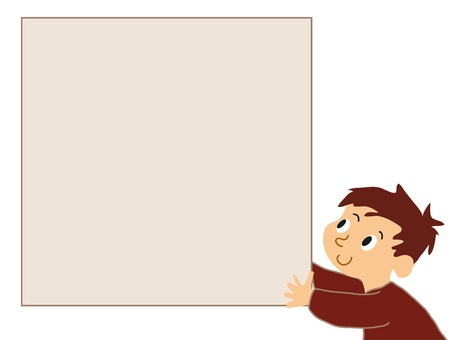 Boy holding noticeboard. Vector