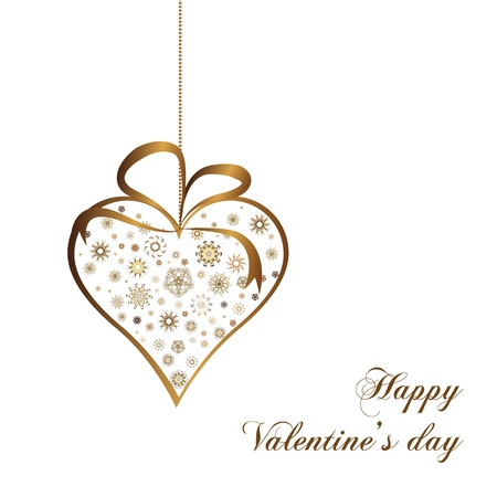 gold valentines heart with ornate