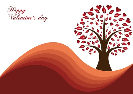 valentines tree with red heart