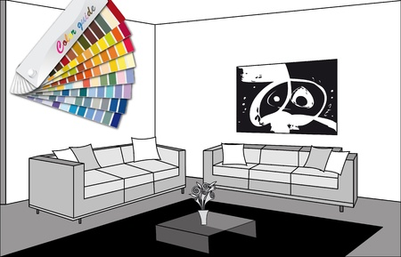 color guide: black and white room with color guide