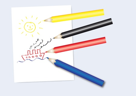 Set of coloured pencils with notepad and kids drawing Illustration