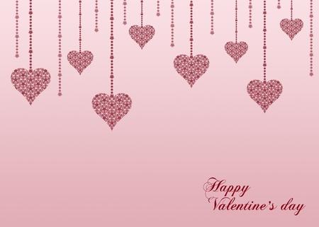 set valentines heart on pink background
