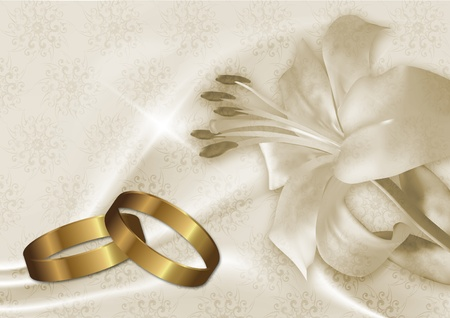 romantic picture: wedding card with gold rings and lily