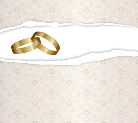wedding card with gold rings Standard-Bild