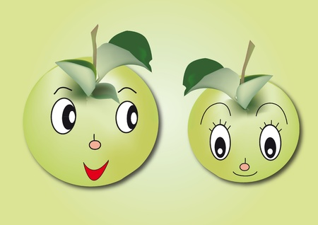 two green character apple on green background