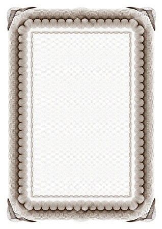 blank brown certificate frame on white background photo