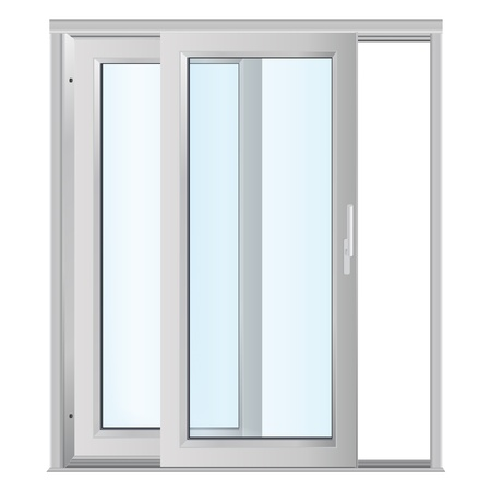 White doors with glass panels Stock Photo
