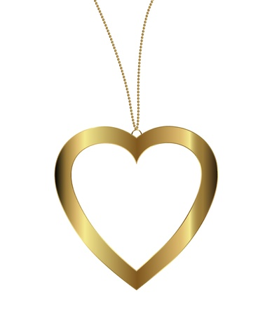 heart pendant of gold on white background