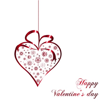 red valentines heart with ornate on white background