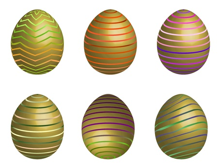 colourful easter eggs with strip on white background