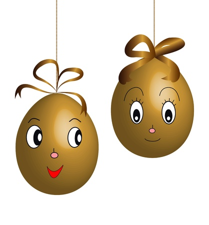 easter sunday: two brown character easter eggs Illustration