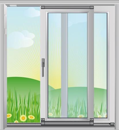 Spring scenery outside the window - vector illustration Illustration