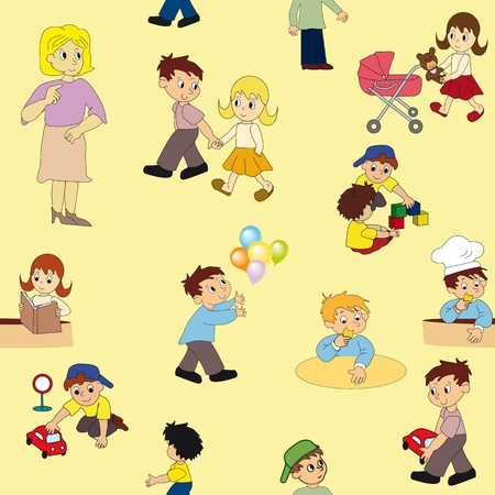 Vector seamless pattern with kid Stock Vector - 12924536