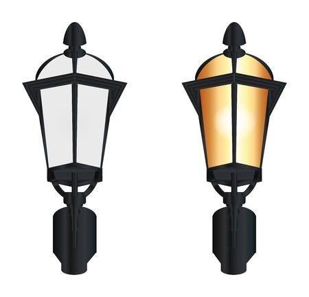 уличный фонарь: два уличных ламп на белом фоне
