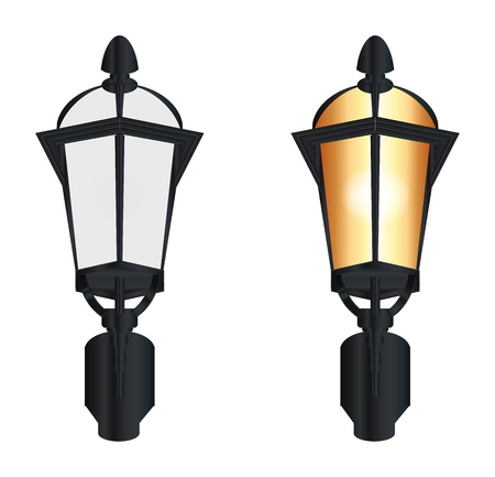 two street lamp on white background Vector