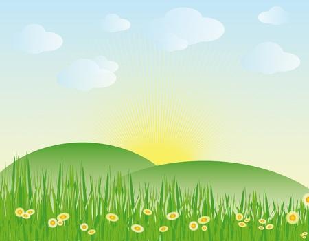 spring landscape - vector illustration Stock Vector - 12924538
