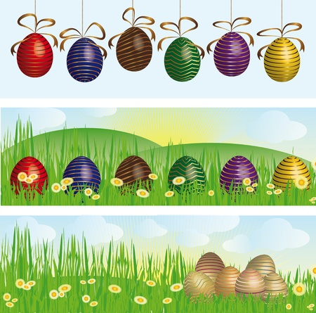 Easter banners with colorful Easter eggs in the green grass Stock Photo