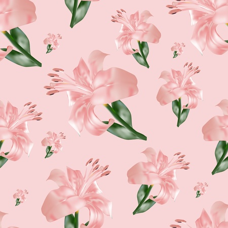 seamless pattern with lilium, vector illustration Stock Photo