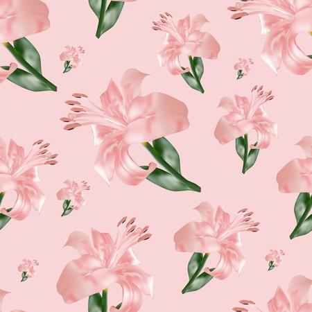 lilium: seamless pattern with lilium, vector illustration Stock Photo
