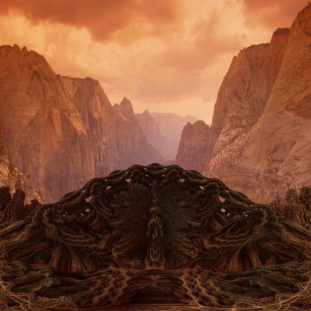 futuristic bridge in in Mountain Valley - 3d render