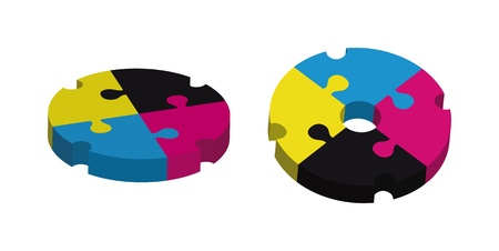 concept design with puzzle pieces in CMYK Stock Photo - 14766266