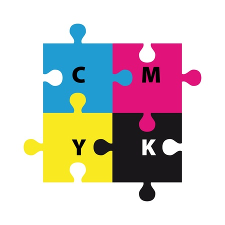 concept design with puzzle pieces in CMYK photo