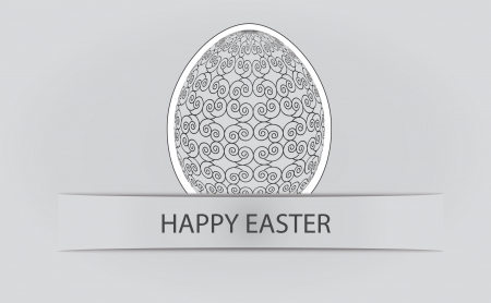 grayscale easter egg with ornate