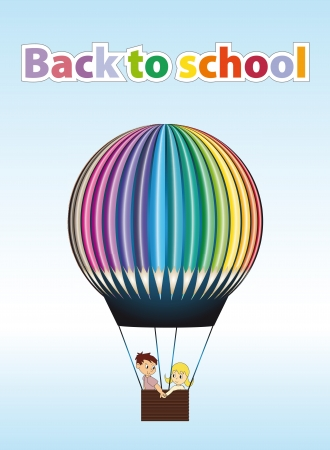 back to school  illustration with hot air Stock Photo