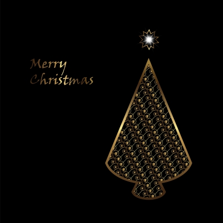 christmas card with gold tree on the black background Illustration