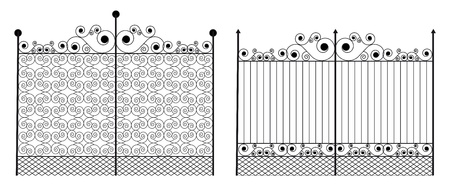 victorian fence: Wrought iron gate with swirl Illustration