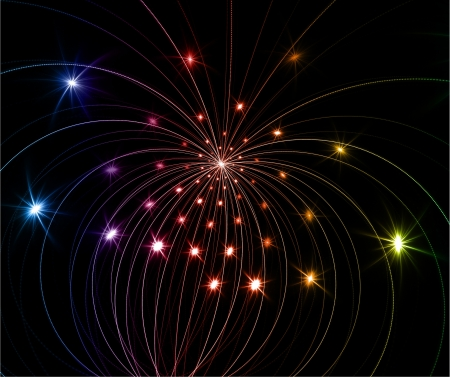 fireworks - abstract fractal on black background Stock Photo