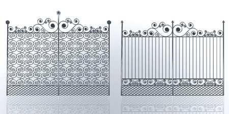 Wrought iron gate with swirl Stock Photo