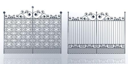 Wrought iron gate with swirl Stock Photo