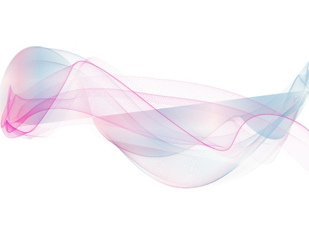 wave and smoke of different colors on white background Stock Photo