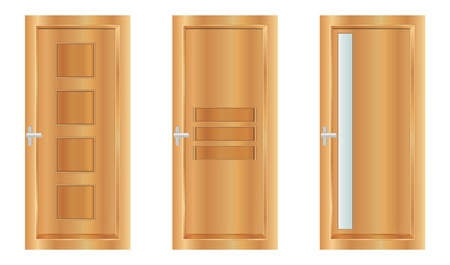 Classic interior wooden doors - realistic vector illustration
