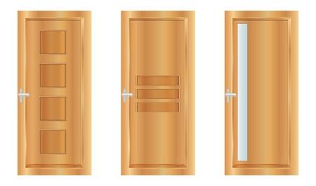 wooden doors: Classic puertas interiores de madera - ilustraci�n vectorial realista