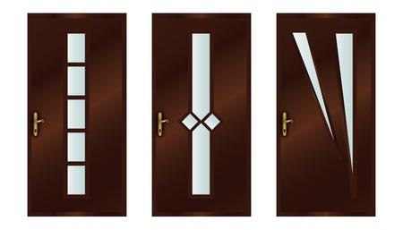 Classic interior wooden doors - realistic vector illustration Vector