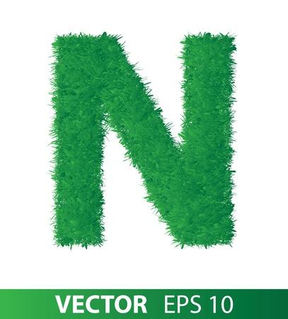 alphabet of green grass on white background