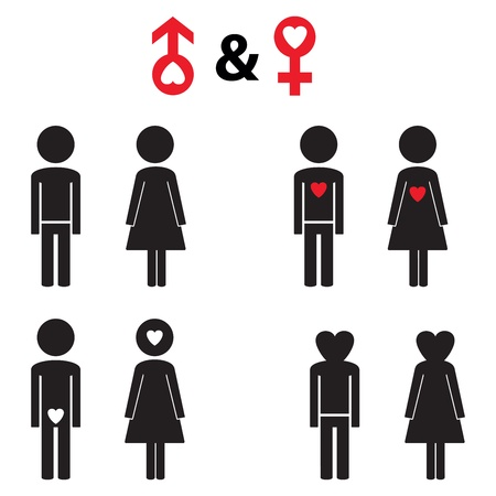 Couple pictogram with red heart Illustration