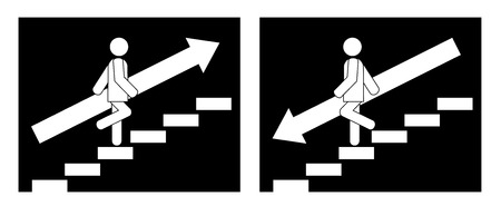 シンボルを上下に行く階段の上の男  イラスト・ベクター素材