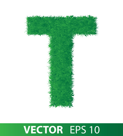alphabet of green grass on white background, vector eps 10 illustration Illustration