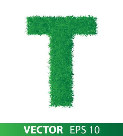 alphabet of green grass on white background, vector eps 10 illustration Illustration