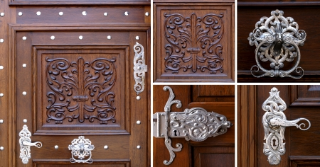 Old wooden doors with antique fittings
