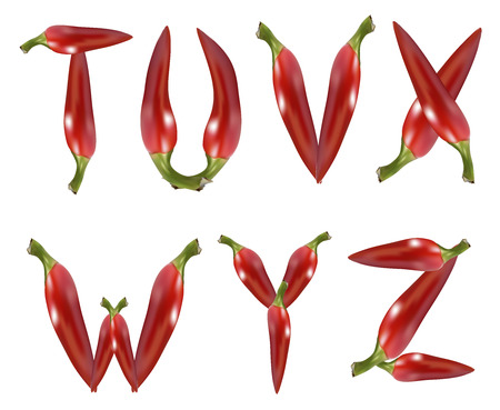 red chilli pepper alphabet on white background Stock Photo