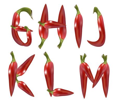red chilli pepper alphabet on white background Stock Photo