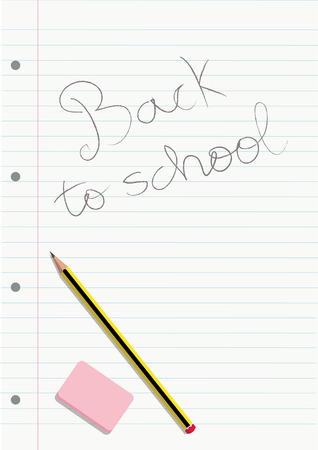 PENCIL AND ERASER ON A WRITTEN NOTEBOOK LINED SHEET  Vector