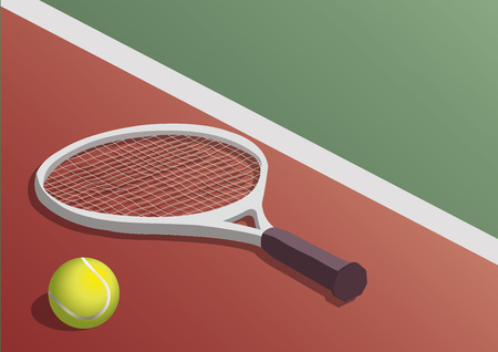 floor ball: TENNIS RACKET AND BALL IN THE COURT FLOOR Illustration