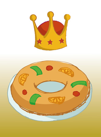 cartoon king: KING OF KINGS CAKE TYPICAL DAY Illustration
